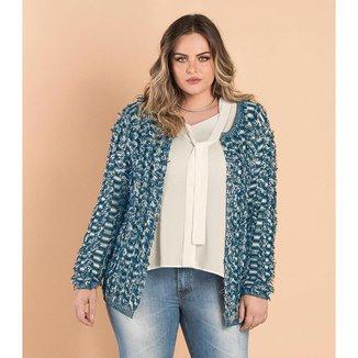 Casaco Feminino Plus Size de Tricô Secret Glam Azul Plus P