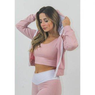Casaco Fitness Feminino Capuz Rosê com Branco