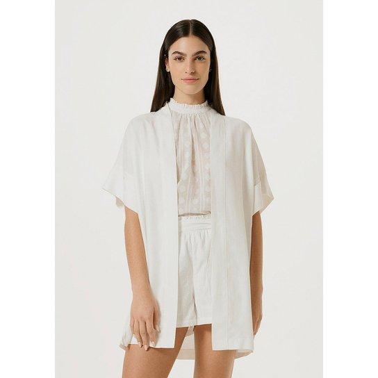 Casaco Hering Kimono Creponado Com Linho Feminino - Off White