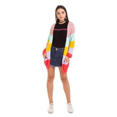 Casaco manola tricot listrado cores Feminino