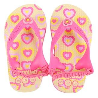 Chinelo Bebê Pimpolho Coração Feminino