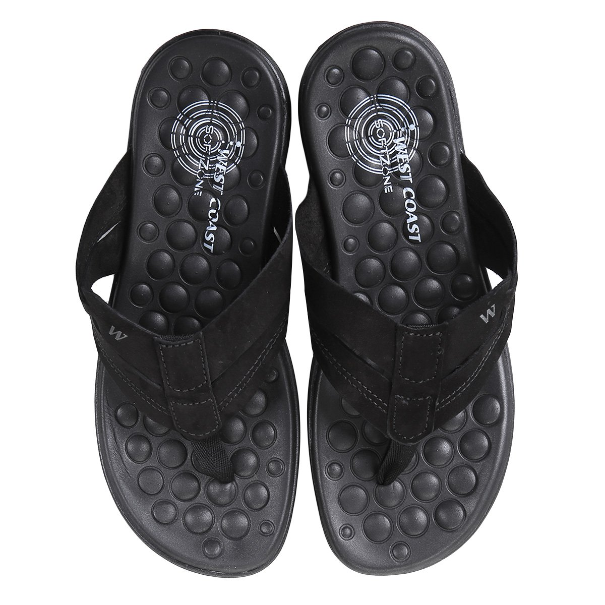 Chinelo Masculino Coast Block Couro Couro West Chinelo Preto 6zddwUq