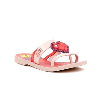 Chinelo Infantil Para Menina Rosa/vermelho