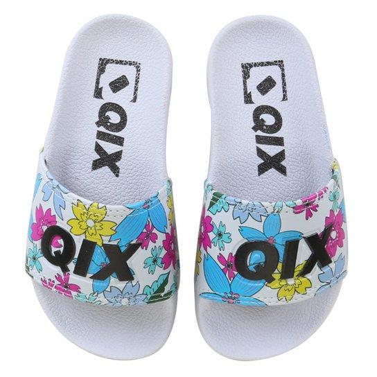 Chinelo Infantil Qix Slide Floral Feminino - Branco