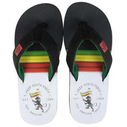 Chinelo Reef Clurg Rasta Black Green Masculino