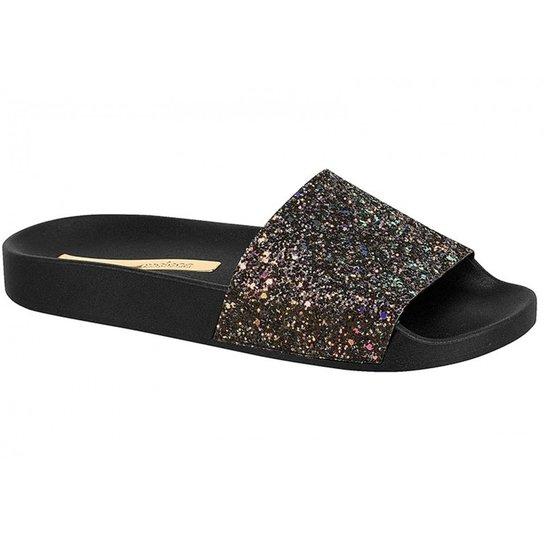 Chinelo Slide Moleca Glitter - Preto