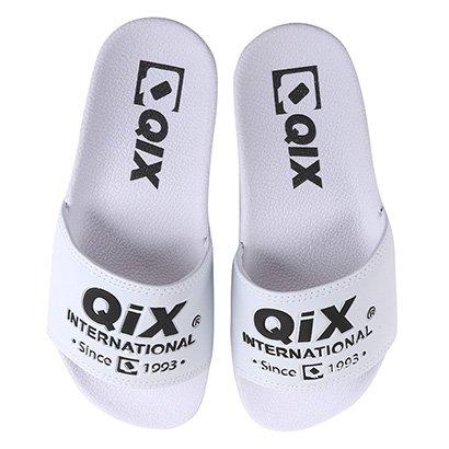 Chinelo Slide Qix International Logo Unissex-Branco