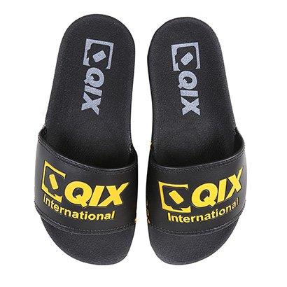 Chinelo Slide Qix International Unissex-Preto+Amarelo