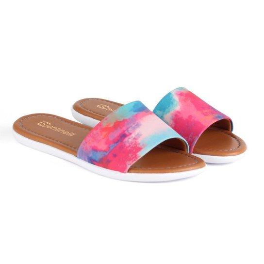 Chinelo Slide Santinelli Feminino Tie Dye Casual Conforto - Rosa+Azul