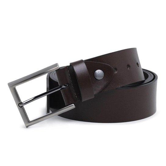 Cinto Couro Carmelo Shoes Casual Liso Masculino - Marrom