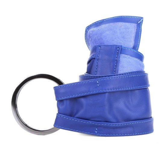 Cinto Couro Shoestock Faixa Argolas Feminino - Azul