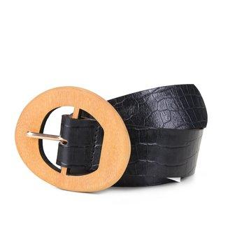 Cinto Couro Shoestock Fivela Madeira Feminino