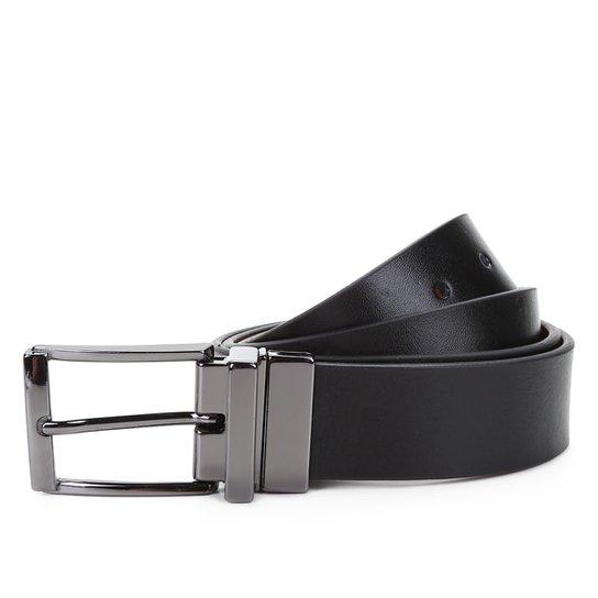Cinto Couro Shoestock Social Reversível A Fio Masculino - Preto+Marrom