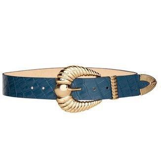 Cinto de Couro Croco Azul Marinho com fivela e ponteira  3,5 - cm - Cintos Exclusivos - Feminino