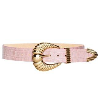 Cinto de Couro Croco Rosa Claro com fivela e ponteira 3,5 - cm - Cintos Exclusivos  Feminino