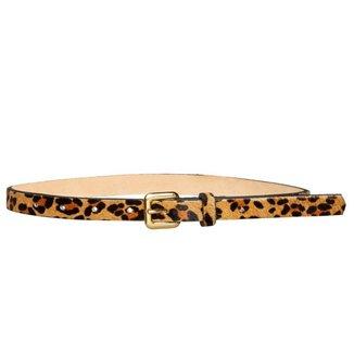 Cinto Fino de Couro  Animal Print Onça - 1,5cm Cintos Exclusivos  Feminino