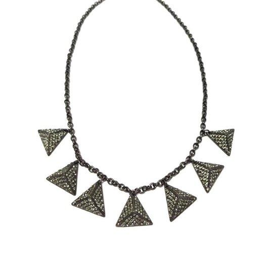Colar Armazem RR Bijoux cristal swarovski grafite - Prata