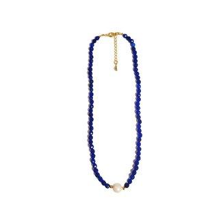Colar Chocker Pedra Natural Semijoia Banho De Ouro 18k Agata Azul Bic E Perola