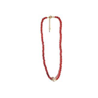 Colar Chocker Pedra Natural Semijoia Banho De Ouro 18k Agata Vermelho E Perola