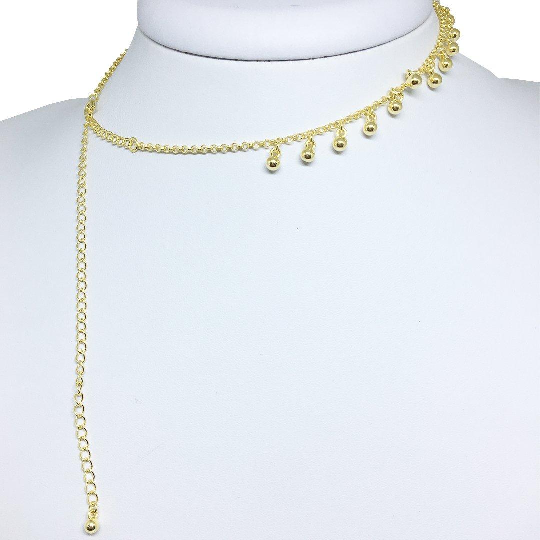 a84782ae7ca73 Colar Choker Com Bolinhas Folheado Em Ouro 18k - Dourado - Compre ...
