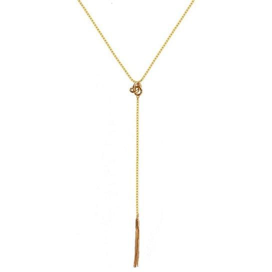 Colar Gravatinha Folheado a Ouro Ania Store Giovanna - Dourado