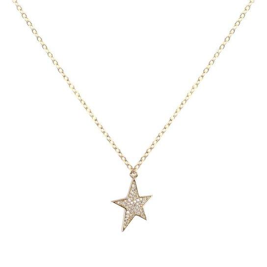 Colar Piuka Estrela Adhara Zircônia Cravejada Folheado A Ouro 18K - Cristal