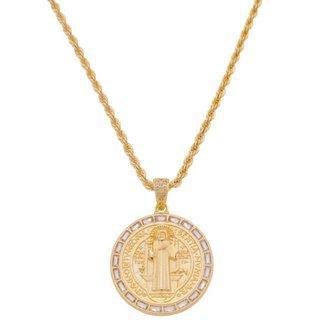 Colar Piuka Jessi Medalha Grande São Bento Zircônia Baguete Folheado A Ouro 18K