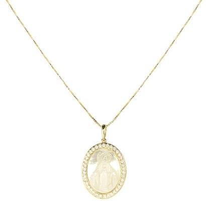 Colar Piuka Mandala Oval Nossa Senhora Das Graças Madre Pérola E Zircônia Folheado A Ouro 18K