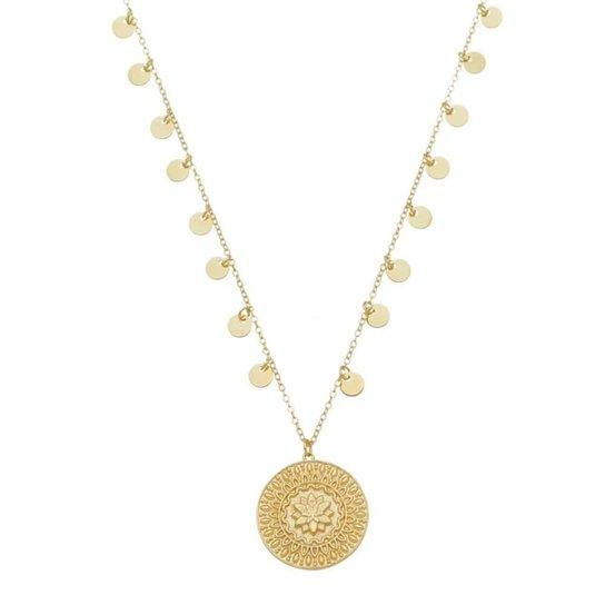 Colar Piuka Medalha Flor De Lótus Cresça Evolua Floresça Folheado A Ouro 18K - Dourado