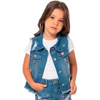 Colete Jeans Infantil Mania Kids Feminino