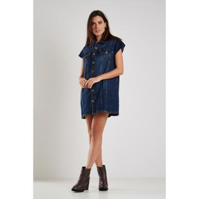 Colete Jeans Sacada Vintage Denin Feminino