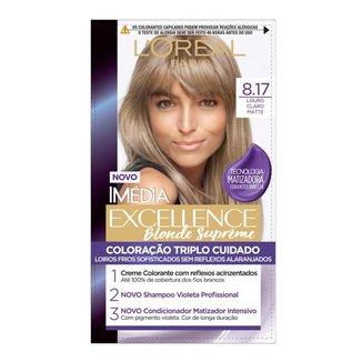 Coloração Imédia Excellence Blondes Supreme 8.17 Louro Claro Matte