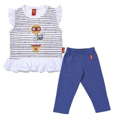 Conjunto 2 Peças - Blusa Jokenpô Bebê Girassol + Legging Denim Feminina