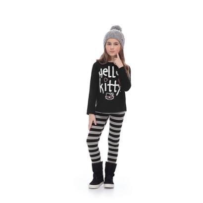 Conjunto Bebê Blusa E Legging Cotton Hello Kitty Feminino-Feminino