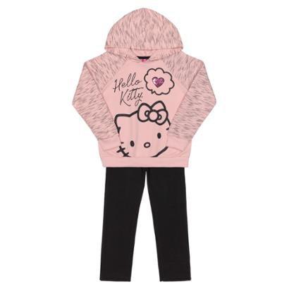 Conjunto Bebê Blusão E Calça Moletom Hello Kitty Feminino-Feminino
