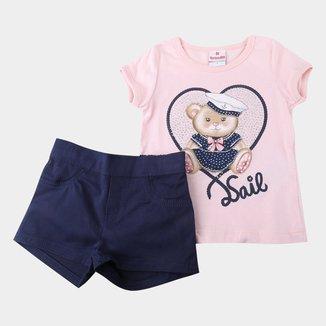 Conjunto Bebê Brandili Blusa Malha Bear + Shorts Sarja Feminino