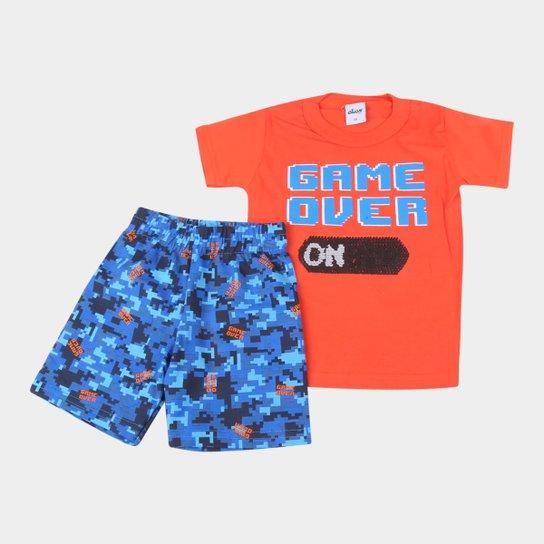 Conjunto Bebê Camiseta Com Lantejoula Reversível E Bermuda Moletinho Game Over Masculino - Laranja