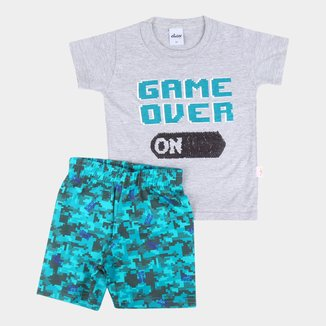 Conjunto Bebê Camiseta Com Lantejoula Reversível E Bermuda Moletinho Game Over Masculino