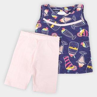 Conjunto Bebê Candy Kids Regata E Shorts Cotton Milk Shake Feminino