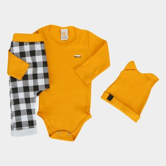 Conjunto Bebê Costão Body + Calça Moletom + Gorro Masculino