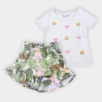 Conjunto Bebê Fakini Folhagem Camiseta + Short Feminino