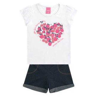 Conjunto Bebê Kamylus Coração Feminino