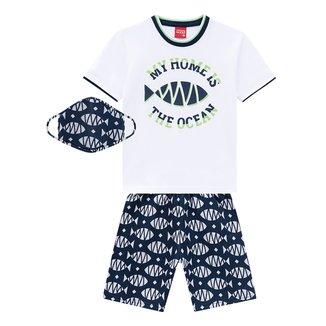 Conjunto Bebê Kyly Camiseta Ocean + Bermuda c/ Máscara Masculino