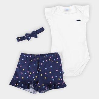 Conjunto Bebê Marlan Body +Shorts Estampado Com Tiara Feminino