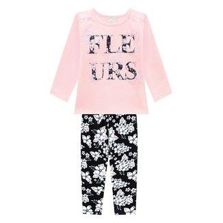 Conjunto Bebê Milon Blusa E Legging Floral Feminino