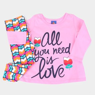 Conjunto Bebê Pipa All You Need Is Love Feminino