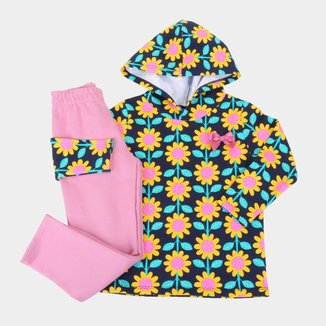 Conjunto Bebê Pipa Floral C/ Capuz Feminino