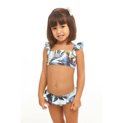 Conjunto Biquiní Infantil Banana Rosa Bluelu Feminino