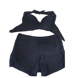 Conjunto Biquini Plus Size Com Short De Ajuste Lateral Azul Marinho