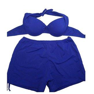 Conjunto Biquini Plus Size Com Short De Ajuste Lateral Azul